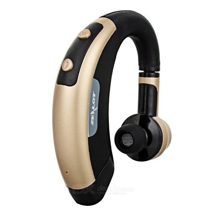 ZEALOT E1 Bluetooth V4.0 Ear-Hook Earphone - Golden + Black