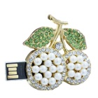 SAMDI Crystal Litchi Forma USB 2.0 Flash Drive - Blanco + Verde (8 GB)