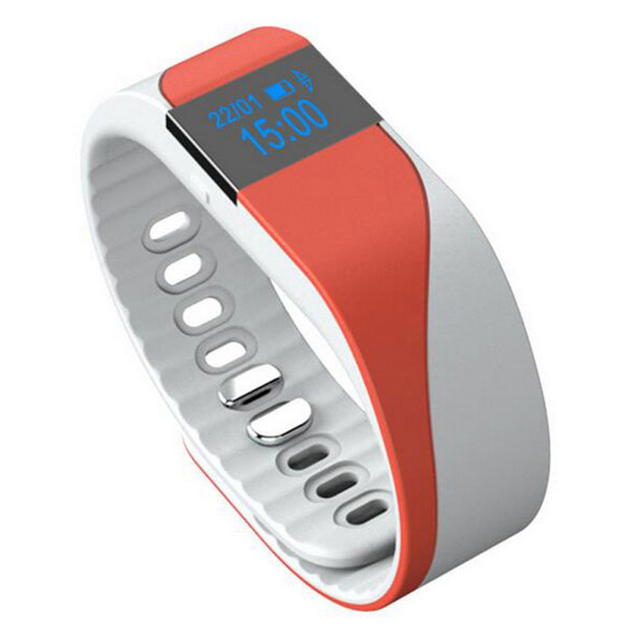 "0.49"" Smart Bracelet w/ Heart Rate & Sport Tracking - Orange + White"