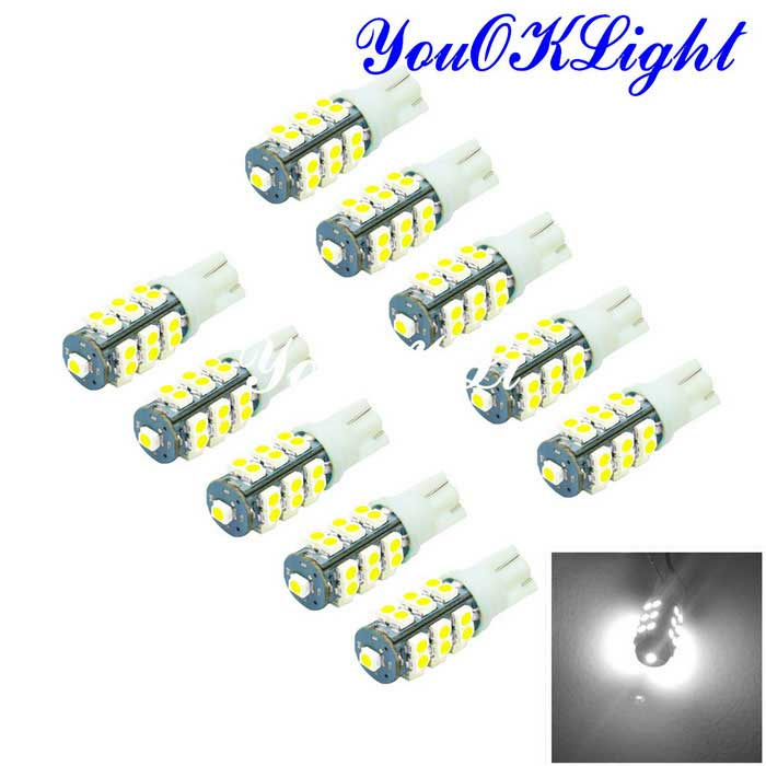 Youoklight T10 1W 25-5050 Lâmpada do carro da luz branca do diodo emissor de luz 40lm (CC 12V / 10PCS)