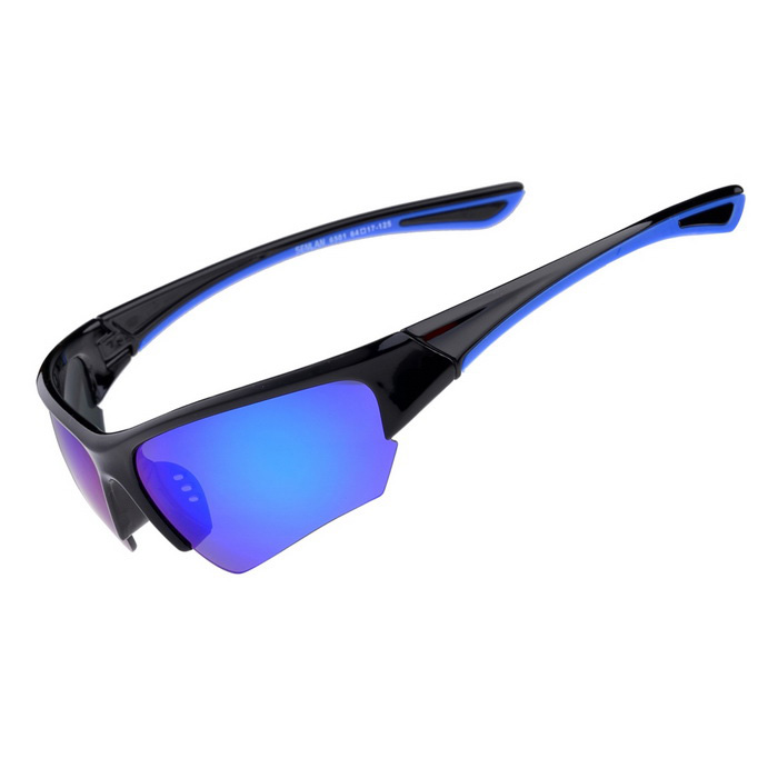 Senlan 6501C2 Outdoor Sports anti-UV óculos de sol - preto + azul