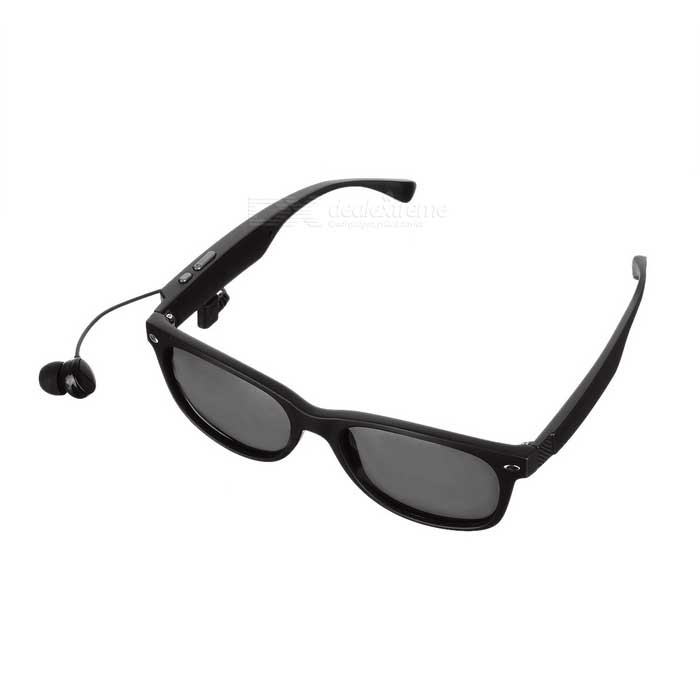 Gonbes k3-P Bluetooth Myopic Sunglasses + Music Earphone - Black