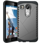 Protective Plastic + TPU Back Case for LG Nexus 5X - Grey + Black