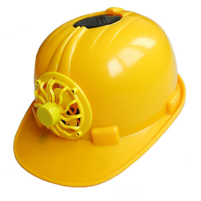 Solar Power Supply Fan Safety Helmet - Yellow