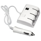 Car Cigarette Lighter w/ Three USB Sockets - White