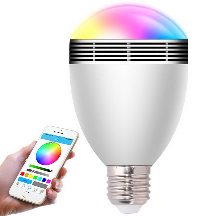 Dimmable Smart Bluetooth LED bulbo w / Music altavoz, control remoto