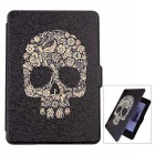 Skull Pattern PU Auto Sleep Case for Kindle Paperwhite 1/2/3 - Black