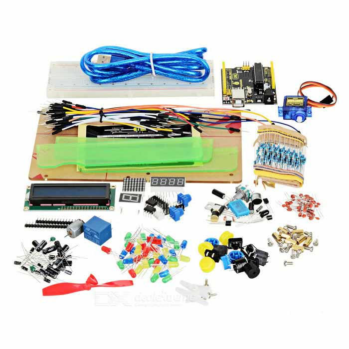 Keyestudio Maker Learning Kit w/ UNO R3 for ARDUINO STARTERKits<br>Form ColorBlack + YellowModel-Quantity1 DX.PCM.Model.AttributeModel.UnitMaterialFR4English Manual / SpecYesDownload Link   http://www.aliexpress.com/store/product/Free-shipping-keyestudio-maker-learning-kit-with-UNO-R3-for-ARDUINO-STARTER/1453931_32588597153.htmlPacking List10 x LED - Red 10 x LED - Yellow 10 x LED - Blue 10 x LED - Green 2 x LED - RGB 20 x 220  resistor 20 x 100K  resistor 20 x 1K  resistor 20 x 4.7K  resistor 20 x 47K  resistor 20 x 10K  resistor 10 x 101 ceramic capacitor 10 x 103 ceramic capacitor 10 x 22 ceramic capacitor 10 x 104 ceramic capacitor 10 x 100uf16V electrolytic capacitor 10 x 10uf16V electrolytic capacitor 6 x Button 3 x Yellow round cap 3 x Blue round cap 5 x 4007 diode 2 x 8050 Transistor 2 x 8550 Transistor 1 x 1-digit 7-seg LED (small)   1 x 4-digit 7-seg LED (small) 1 x LED Matrix (small) 1 x 5V Relay 1 x MOS (metal oxide semiconductor) tube 1 x Crystal oscillator 1 x 801S sensor 1 x Highly sensitive MIC 1 x Rotary encoder 1 x DHT11 temperature and humidity 1 x LM35 temperature sensor 1 x Flame sensor 2 x Ball tilt sensor 2 x 103 thermistor 2 x Photoresistor 2 x 103 variable resistor 1 x 4N35 1 x NE555P 1 x DS1302 2 x 595 IC 1 x Active buzzer 1 x Passive buzzer 1 x Pin header 1*16 1 x Fan leaf 1 x Fan motor 1 x 9G servo motor 1 x 1602 LCD 1 x USB cable 150cm 65 x Jumper Wire 24cm1 x 830-hole Breadboard 1 x Retaining screws 1 x Acrylic fixed platform<br>
