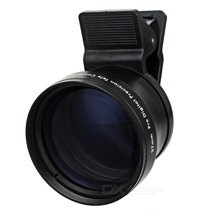 2.0X 37mm Clip-on Camera Teleconverter Lins - Svart