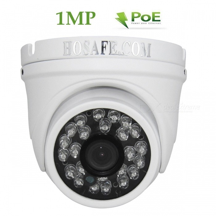HOSAFE 1MD4P 720P POE Outdoor Câmera IP Dome - Branco (US Plugs)