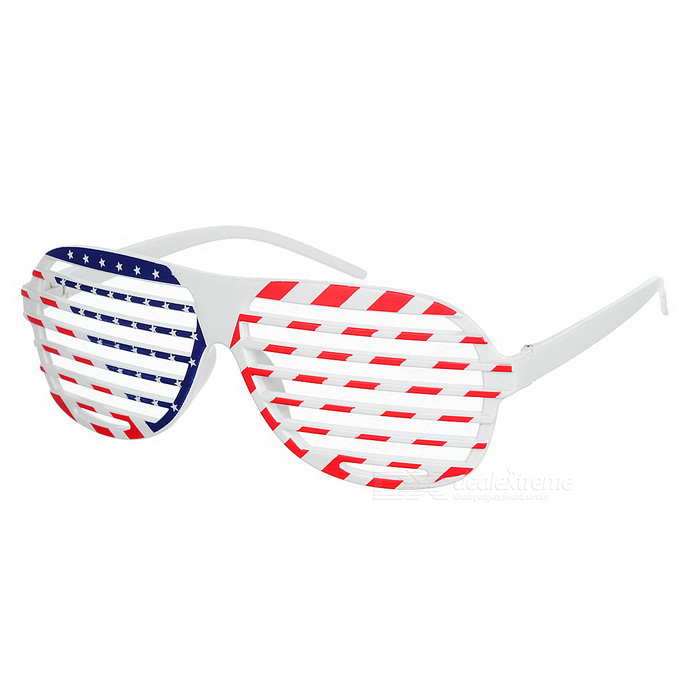 Novelty US Flag Pattern Shutter Glasses - White + Red + Multi-Colored