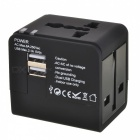 2-USB Global Universal Travel Adapter Charger - Black (5V/2.1A)