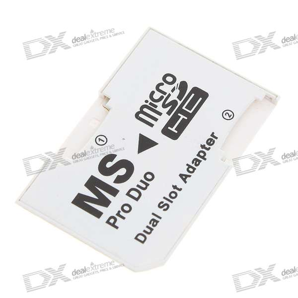 Dual Micro SD/TF to MS Card Adapter - White (16GB Max)