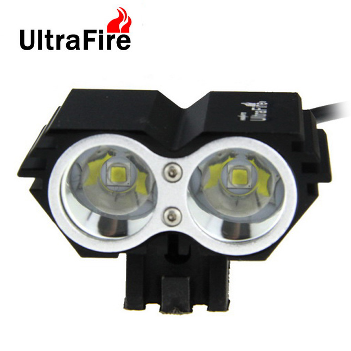 UltraFire Rechargeable 2-LED 2400lm Cold White Bike Headlight - Black