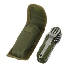 AoTu AT6364 440 Steel Folding Knife Tableware Set - Green + Silver