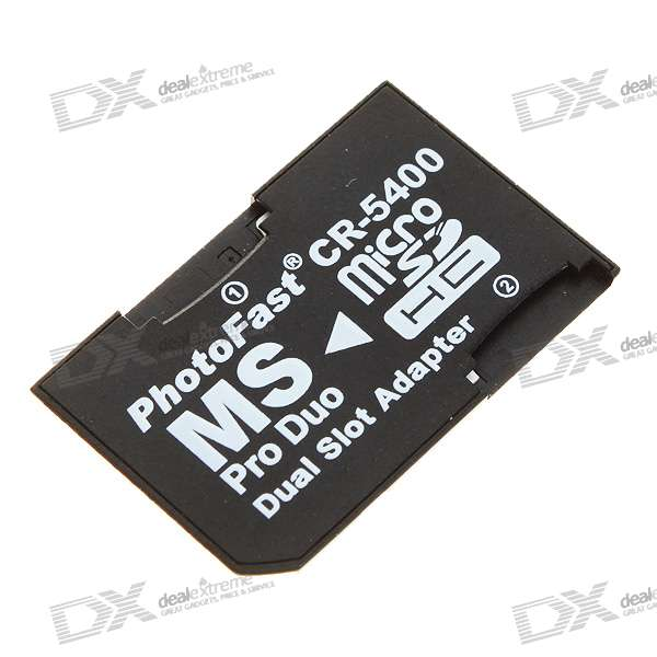 Dual Micro SD/TF to MS Card Adapter - Black (16GB Max)
