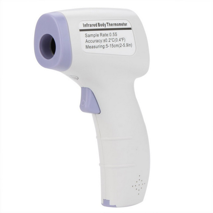 "HTD8808 1.2"" LCD Non-Contact Infrared Thermometer - White + Purple"