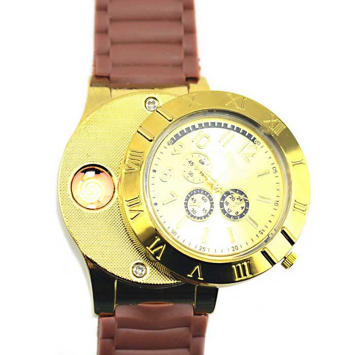 2-in-1 montre en métal et USB Briquet Electronique - Golden Brown +
