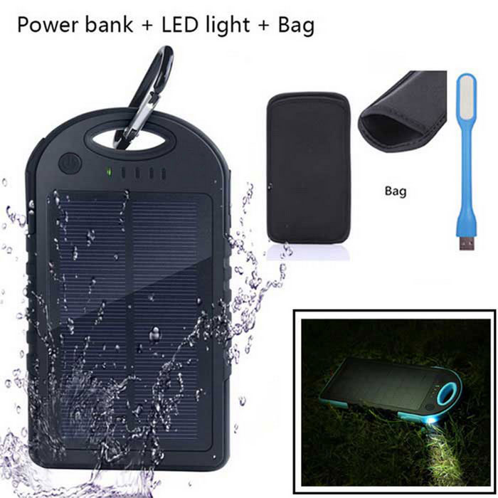 2-USB 5000mAh Solar Power Bank + LED Light + Bag - BlackMobile Power<br>Form  ColorBlack + WhiteQuantity1 DX.PCM.Model.AttributeModel.UnitMaterialWaterproof materialShade Of ColorBlackCompatible ModelsIPHONE 5S,IPHONE 5C,IPHONE 5,IPHONE 4,IPHONE 4S,IPHONE 3GS,IPHONE 3G,IPAD AIR,IPAD MINI 2(IPAD MINI WITH RETINA DISPLAY),IPAD MINI (1ST GENERATION),IPAD 4,THE NEW IPAD(IPAD 3),IPAD 2,IPAD 1,IPOD TOUCH 5,IPOD TOUCH 4,IPOD TOUCH 3,IPOD TOUCH 2,IPOD TOUCH 1,IPOD NANO 7,IPOD NANO 6,IPOD NANO 5,IPOD SHUFFLE 4,IPOD SHUFFLE 3,IPOD SHUFFLE 2,IPOD SHUFFLE 1,IPOD CLASSICCompatible TypeUniversalBattery TypeLi-polymer batteryBuilt-in Battery ModelOthers,Li-polymer batteryVoltage5 DX.PCM.Model.AttributeModel.UnitCapacity Range5001mAh~6000mAhNominal Capacity5000 DX.PCM.Model.AttributeModel.UnitBattery Measured Capacity 4000 DX.PCM.Model.AttributeModel.UnitInput5V/1AOutput interface, output current, output voltage5V/1A, 5V/2ACharging Time4-5 DX.PCM.Model.AttributeModel.UnitWorking Time5-8 DX.PCM.Model.AttributeModel.UnitFeaturesLED Indicator,Flashlight,Solar PoweredCertificationCE, FCC, ROHSPacking List1 x Solar Power1 x LED light1 x Mobile power bank protective bag<br>