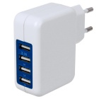Four-port USB Power Adapter Charger - White (100~240V / EU Plug)