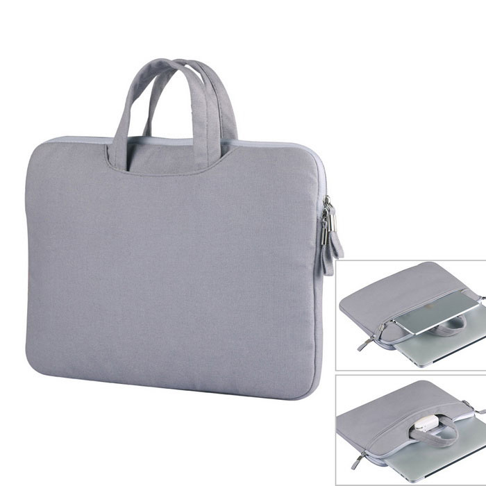 "Canvas Tote Bag for 13"" Laptop PC - Grey"