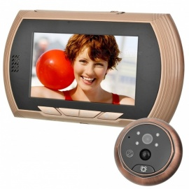 "4.3"" Color Screen Digital Peephole Viewer Video Door Bell - Golden"