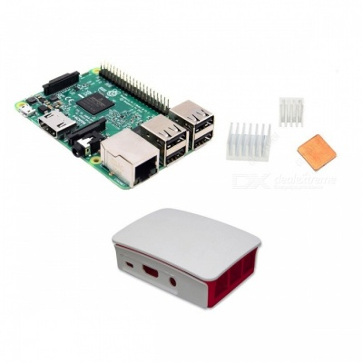 Raspberry Pi 3 Model B + Official Case + Heatsinks Kit - White + Green