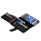 Solid Color PU Leather Case with Wallet for Samsung S7 Edge - Black
