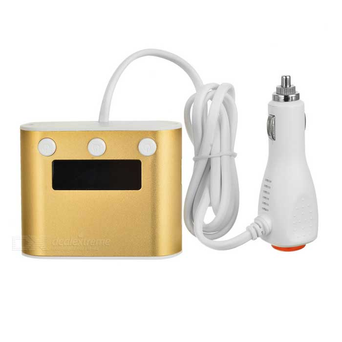 1-to-3 Cigarette Lighter Sockets Splitter - Champagne Gold + White