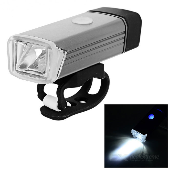 USB Powered 180LM White Bike Headlamp Cycling Flashlight - GrayBike Light<br>Form  ColorGreyQuantity1 DX.PCM.Model.AttributeModel.UnitMaterialMagnesuim aluminium alloyColor BINWhiteNumber of Emitters1Battery1200mAh polyester batteryBattery included or notYesActual Lumens180 DX.PCM.Model.AttributeModel.UnitNumber of Modes4Mode ArrangementHi,Mid,Slow Strobe,Fast StrobeSwitch TypeClicky SwitchSwitch LocationHeadStrap/ClipClip includedApplicationBody,Seat Post,Handle BarHolder Diameter3.5~7 DX.PCM.Model.AttributeModel.UnitWaterproofYesPacking List1 x Bicycle light1 x English user manual<br>