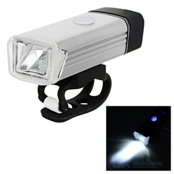 USB Powered 180LM White Bike Headlamp Cycling Flashlight - Silvery
