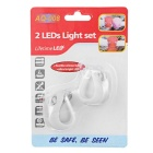 3-Mode 2-LED luces blancas frías de la serpiente de la bicicleta - blanco (2 * CR2032 / 2PCS)