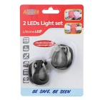 3-Mode 2-LED Cold White Bicycle Snake Lights - Black (2*CR2032 / 2PCS)