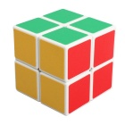 ShengShou 2x2x2 White Background Frosted IQ Cube - White + Multi-Color