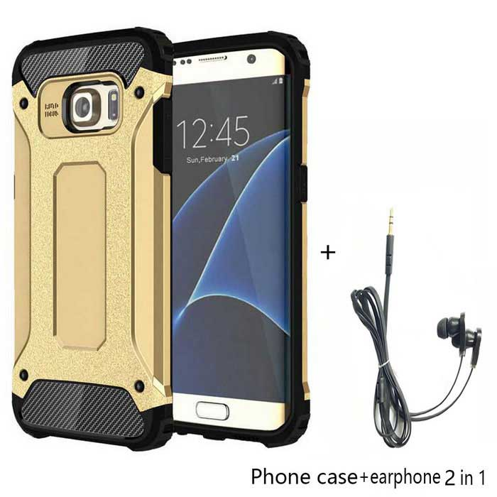 SAMDI TPU + PC Back Case + Earphone for Samsung Galaxy S7 Edge - Gold