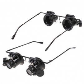 20X Magnifying Watch Repair Magnifier Loupe w/ LED Light - Black
