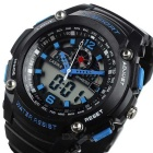 Analog + Digital Display Waterproof Sports Wrist Watch - Black