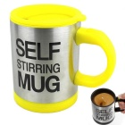 350ml Stainless Steel Self-Stirring Mug - Yellow + Silver