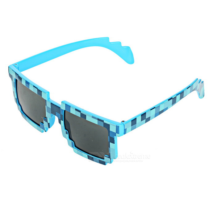 Fashionable Mosaic Grid Style Unisex Sunglasses - Blue + Black