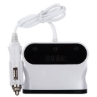 3-Socket Car Cigarette Lighter & Dual USB Charger - White + Black