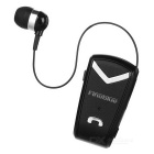 Fineblue F-V2 Clip-on BT Earphone w/ Retractable Wire - Black + Silver