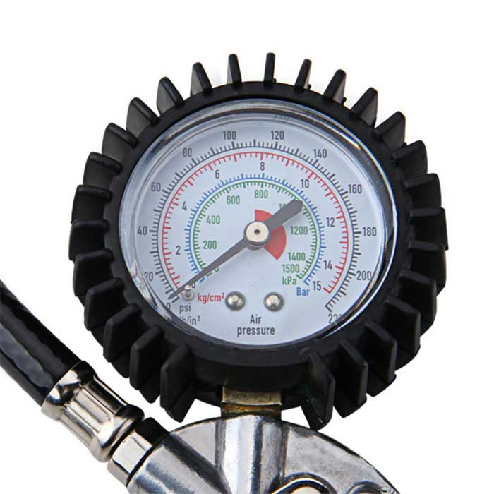 Air Auto Motorcycle Truck Tire Tyre Inflating Inflator Tool Pressure Dial Gauge w / Self Locking Head