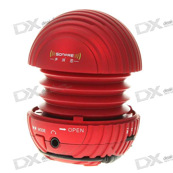 USB Rechargeable Portable Speaker with SD Card Slot - Red (3.5mm Jack/10CM-Cable)