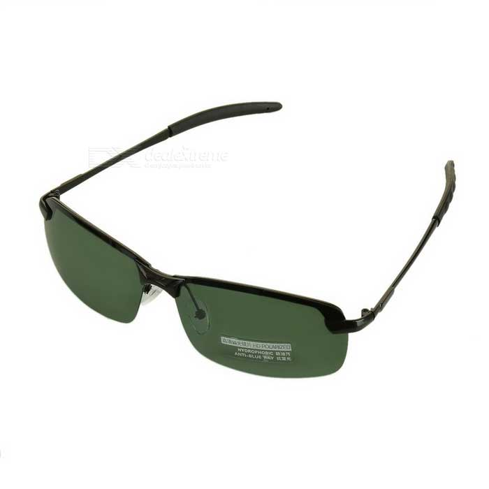 Men's UV400 Protection Polarized Sunglasses - Black + Dark Green