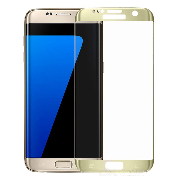 Tempered Glass Screen Protector for Samsung Galaxy S7 Edge - GoldScreen Protectors<br>Form ColorTransparent + goldScreen TypeGlossyModel-MaterialTempered glassQuantity1 DX.PCM.Model.AttributeModel.UnitCompatible ModelsSamsung Galaxy S7 EdgePacking List1 x Tempered screen protector1 x Alcohol prep pad1 x Dust cleaning paper<br>