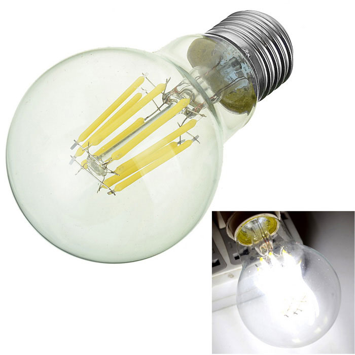 Marsing E27 8W Cold White Light LED Filament Globe Bulb (AC 85~265V)E27<br>Color BINCold WhiteMaterialAluminum alloy + glassForm  ColorWhite + Yellow + Multi-ColoredQuantity1 DX.PCM.Model.AttributeModel.UnitPower8WRated VoltageAC 85-265 DX.PCM.Model.AttributeModel.UnitConnector TypeE27Emitter TypeCOBTotal Emitters8Actual Lumens600~700 DX.PCM.Model.AttributeModel.UnitColor Temperature6000KDimmableNoBeam Angle330 DX.PCM.Model.AttributeModel.UnitCertificationCE, RoHSPacking List1 * LED Lamp<br>