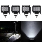 18W Flood Beam 1800lm White Working Light Bar - Black (DC 10-30V/4PCS)