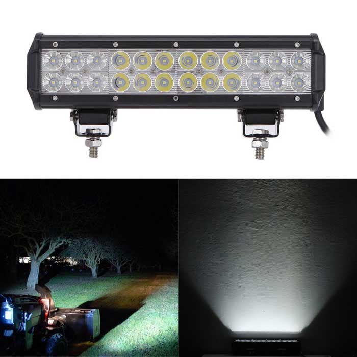 72W Combo Beam 7200lm White Working Light Bar - Black (DC 10-30V)