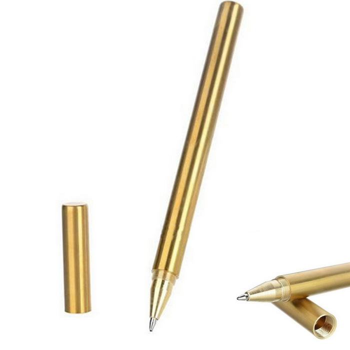 FURA Outdoor Tactical Mirror Surface Brass Gel Pen - Golden
