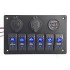 6 Gang Waterproof Blue LED Rocker Switch Panel Voltmeter USB Charger